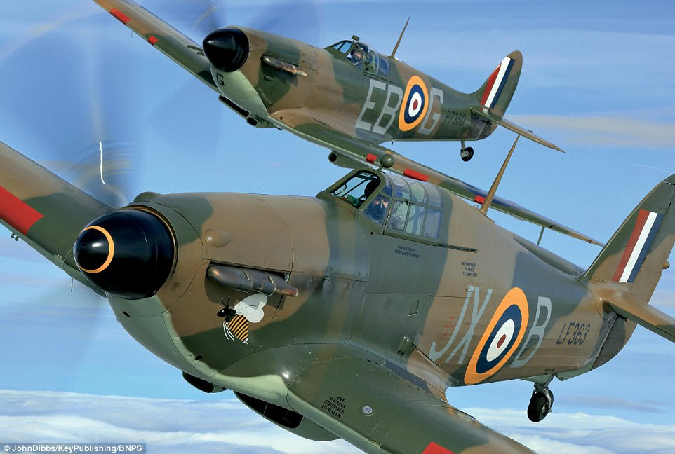 The Hurricane, in the foreground of the picture above, was overshadowed by the more glamorous Spitfire flying behind and its construction was considered outmoded, especially with its fabric-covered fuselage and, in early versions, wings