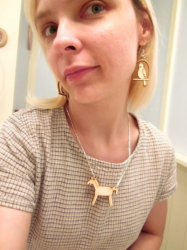Me and the wooden unicorn charm.