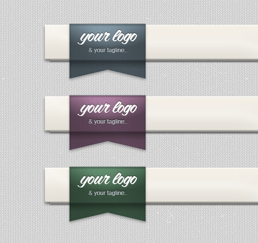 Tucked Ribbon for Header Logo Placement (Psd)