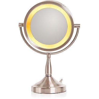 Jerdon Brushed Nickel Lighted Pedestal Makeup Mirror Ulta ...