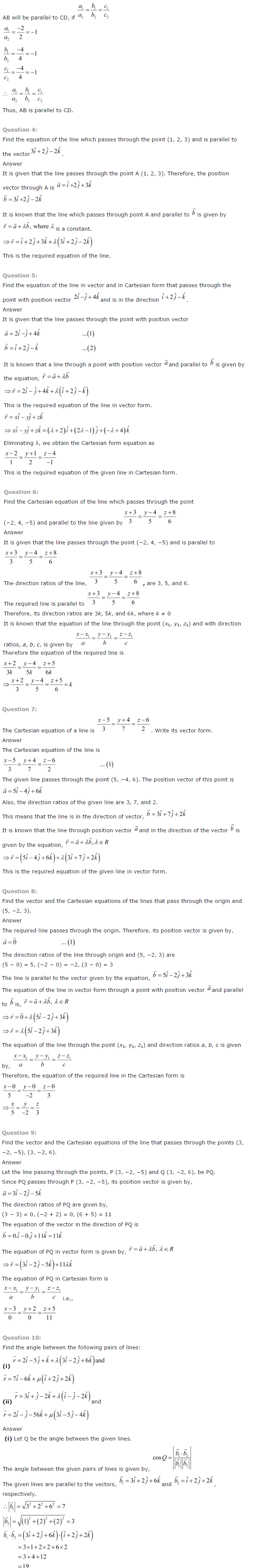 NCERT Solutions for Class 12 Maths Chapter 11 Three Dimensional Geometry ex 11.2