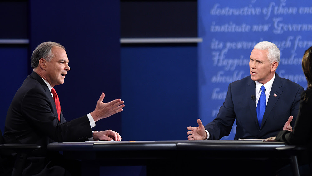 Vice presidential candidates Tim Kaine and Mike Pence verbally spar during their Tuesday night debate. Most observers say Pence did the better job, though Kaine aggressively attacked Donald Trump. (Newscom)