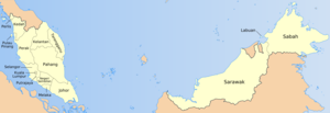 Map of the states of Malaysia