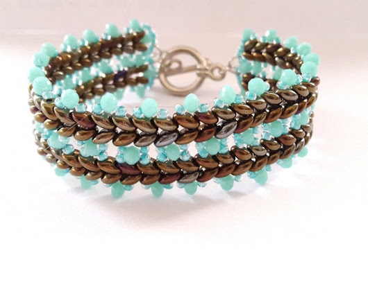 Super Duo Bead Weaving Bracelet Czech Beads Bracelet by Rosestyle