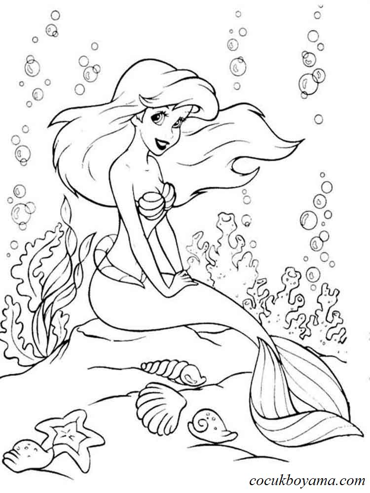 Küçük Deniz Kızı 8 ücretsiz Boyama Resimleri