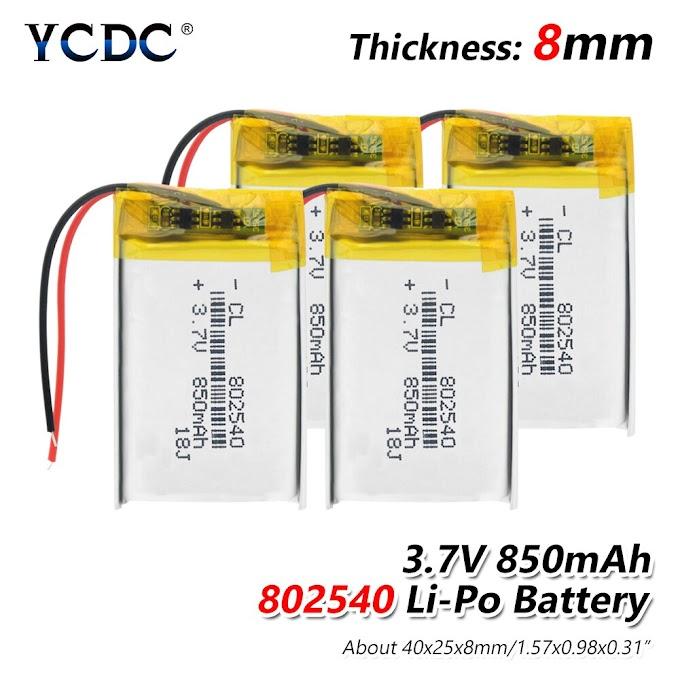 Rechargeable 3.7V 850mAh 802540 Battery li-ion Lipo cells Lithium Li-Po Polymer Battery For GPS MP3 MP4 LED Light RC drone