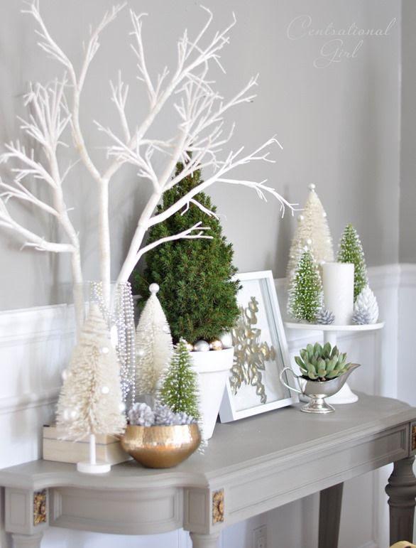White Christmas decor via Centsational Girl Group items on cake stand.