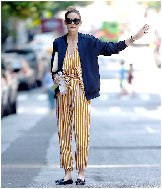 Le Fashion Blog Olivia Palermo In NYC Striped Yellow Jumpsuit Bomber Jacket Pointed Flats Via Daily Mail