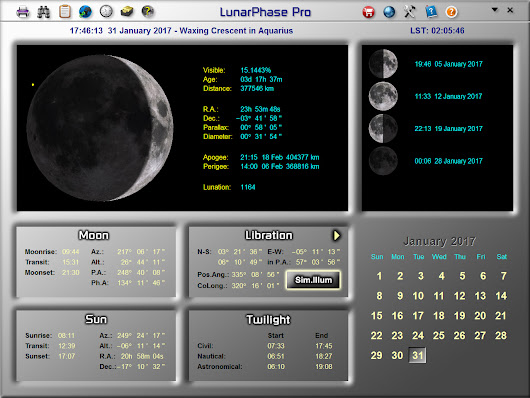 LunarPhase Pro Moon Observer's Software Toolkit