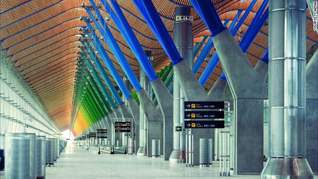 Architect Richard Rogers brought beautiful changing colors to Madrid-Barajas Airport in Spain. The main terminal's departures area is shown here.
