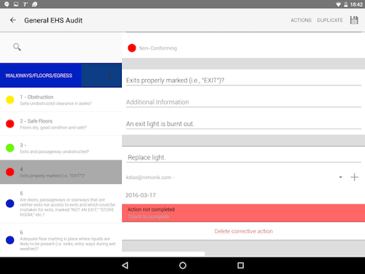 EHS Audit for Android Updated | Nimonik Quality, Safety, Health, Environmental Compliance
