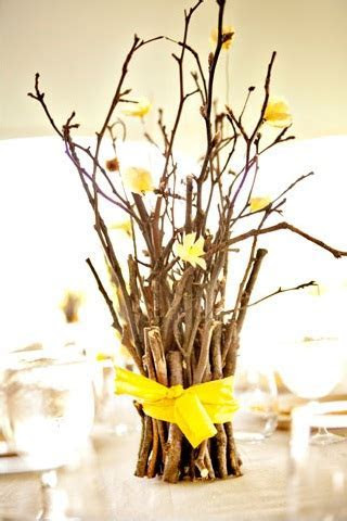 Small Branches Wrapped in Ribbon Centerpieces ? A Wedding Blog