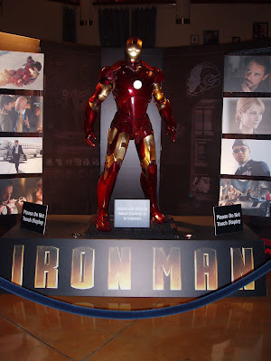 Iron Man suit worn by Robert Downey Jr in the Iron Man movie on display in the Arclight Hollywood cinema foyer