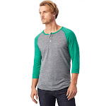 Alternative Basic Eco-Jersey 3/4 Sleeve Raglan Henley Shirt 2X Eco Grey & Eco True Green , Alternative Apparel