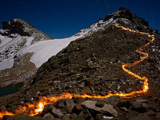 Photographer Documents a Melting Glacier in Africa with Lines of Fire