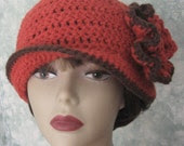 Womens Crochet Hat Pattern With Double Flower Trim Easy To Make Instant Download
