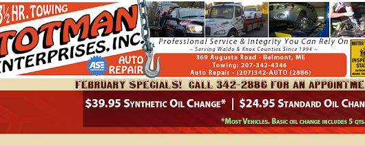 FEBRUARY 2016 SPECIALS | Totman Enterprises – Towing & Recovery, Used Auto Parts, Rebuildables, Rebuildable Cars and Junk Car Removal.  Located in Searsmont, Maine, USA
