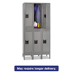 """Tennsco TNNDTS1218363MG Double Tier Locker with Legs, 6 Compartments, Triple Stack, 36""""W x 18""""D x 72""""H, Medium Gray"""