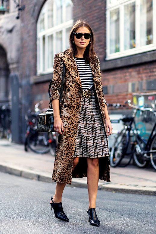 Le Fashion Blog Street Style Sunglasses Long Leopard Coat Black And White Striped Tee Tartan Skirt Kitten Heel Slingback Mules Via The Zoe Report