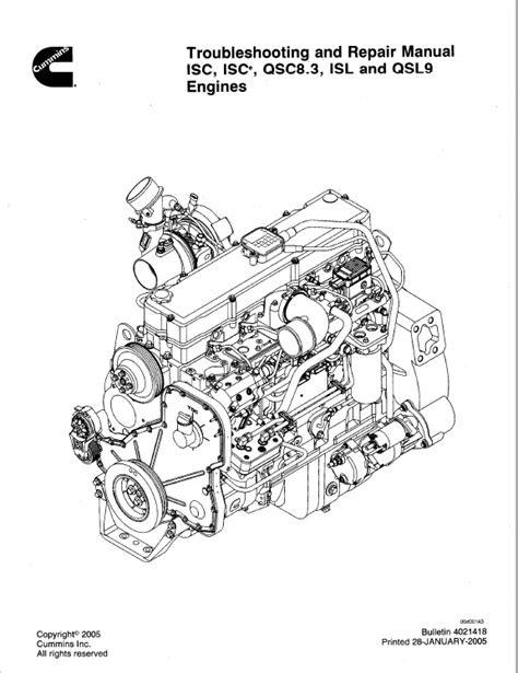 Download Cummins Engines ISC ISCe QCS8.3 ISL QSL9 PDF Manual