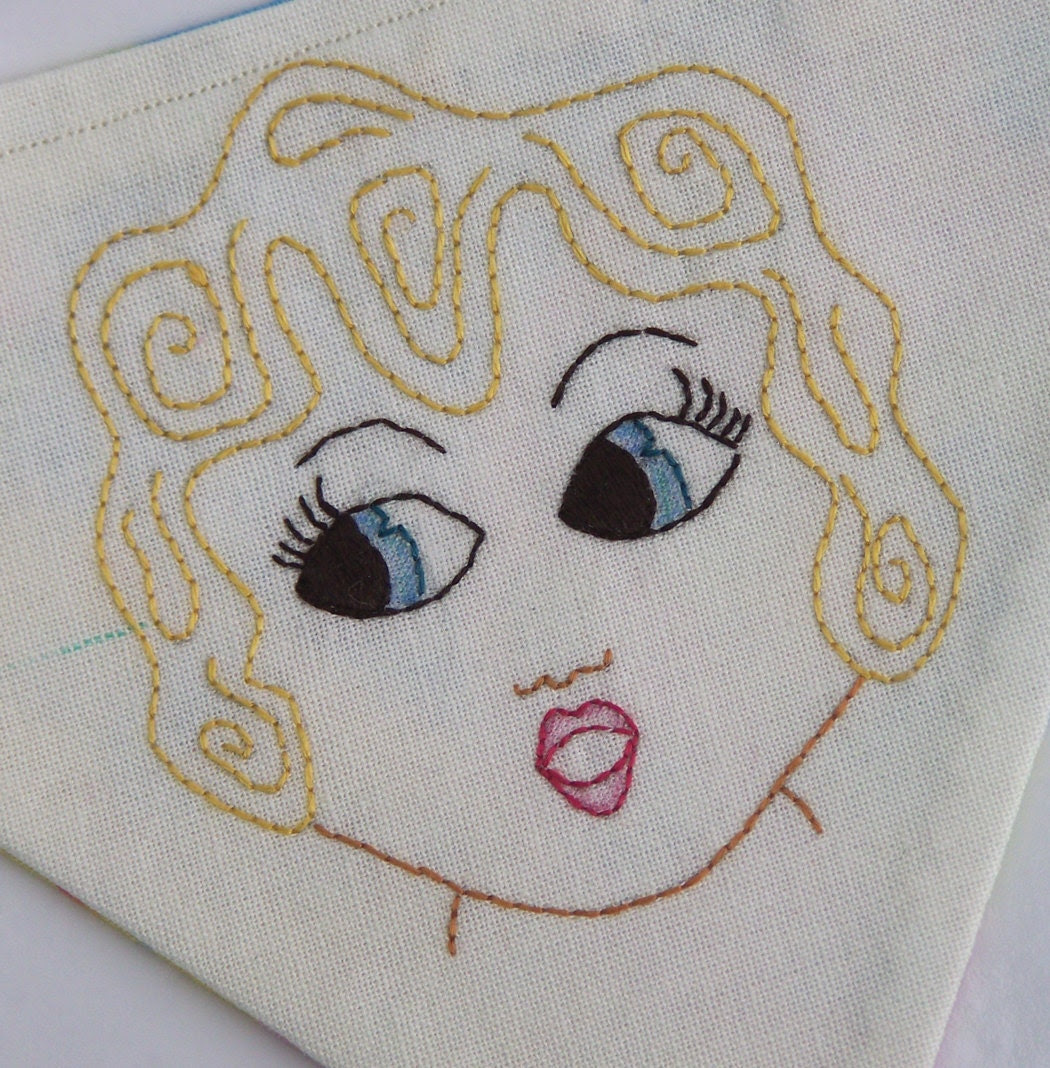 Kewpie Doll Carnival Doll Style Faces Stitchery Embroidery E-Pattern to make Bunting, Banner or Flags