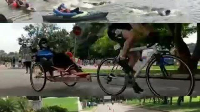 Resultado de imagem para Rodrigo e Gabriel, que estarão na Wings for Life, participaram de uma prova de triatlo em março