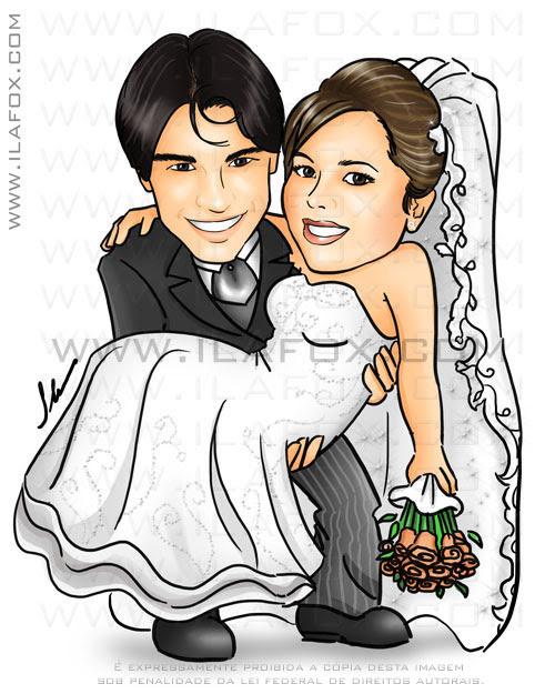 caricatura colorida, casal, noivos, noivo segurando noiva, noiva no colo, noivinhos Ivi e Fabricio, caricatura para casamento by Ila Fox