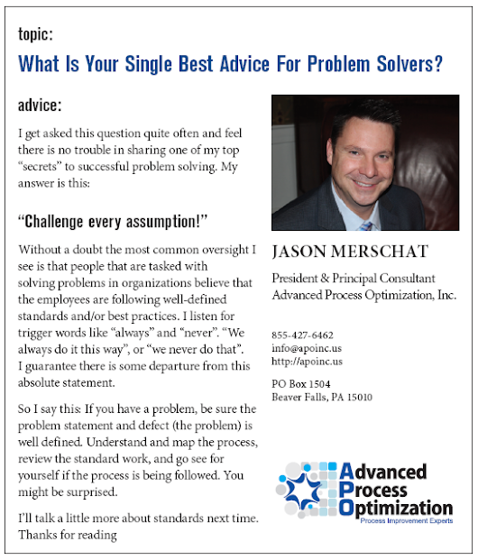 What Is Your Single Best Advice For Problem Solvers? » Advanced Process Optimization