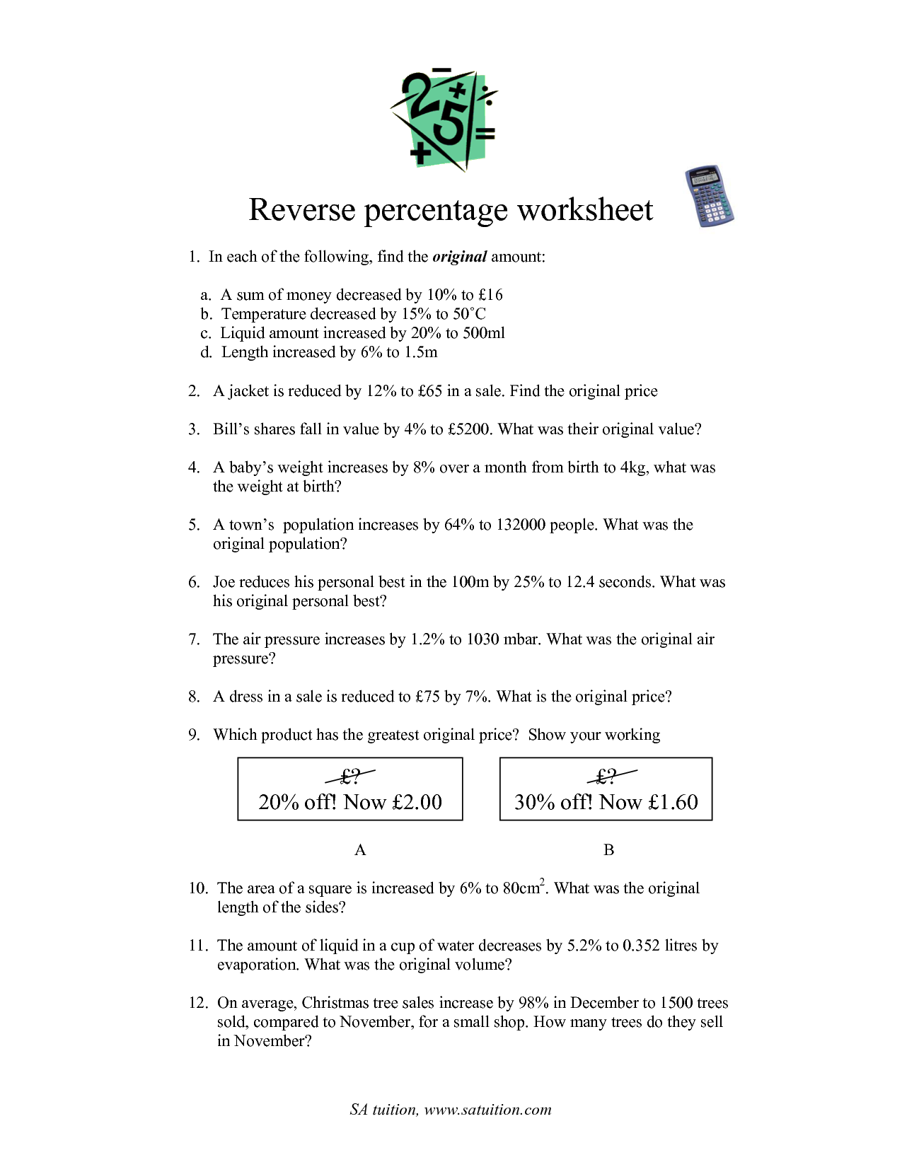 18 Best Images of Worksheet Finding Percent Tax  Percent Tax Tip Discount Word Problems
