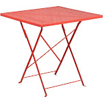 Flash Furniture 28 in. Square Indoor/Outdoor Steel Folding Patio Table, Coral
