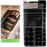 Sonic IQ 1 x 98 Battery Storage Organizer Removable Tester Storage Rack Holder AA AAA 9V, Black