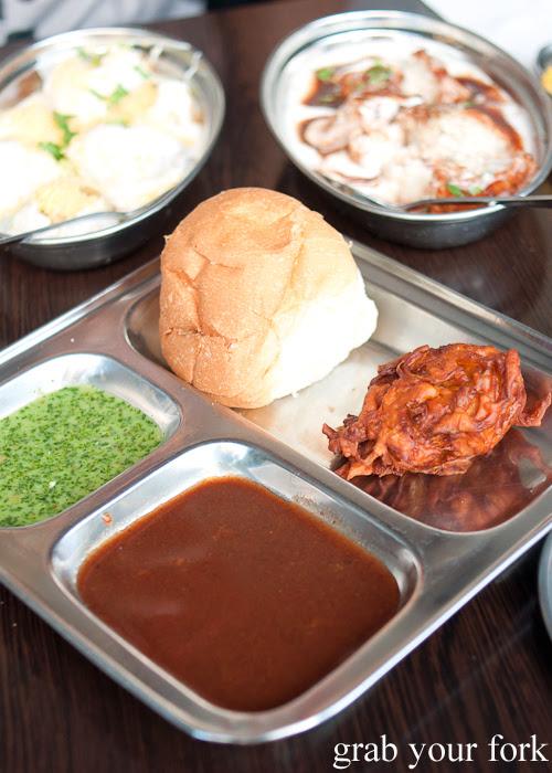 Onion pakora pav Indian street food at Chatkazz Harris Park