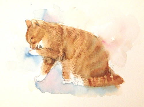 かわいい猫のイラスト水彩画の描き方