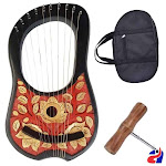 Lyre harp rosewood 10 metal strings Red Black Base with Gold Leaves