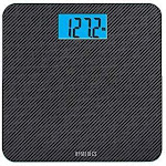 "Homedics Carbon Fiber Glass Bathroom Scale Large Platform Measures 13"" Square Accurate Up To 400 Lbs"