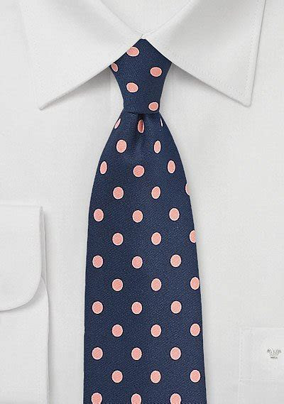 Navy Mens Tie with Large Pink Polka Dots   Bows N Ties.com