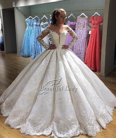 Long Sleeve Lace Wedding Dresses 2017 Custom Made Puffy