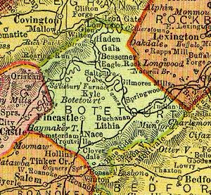 Botetourt County, Virginia, from 1895 state map