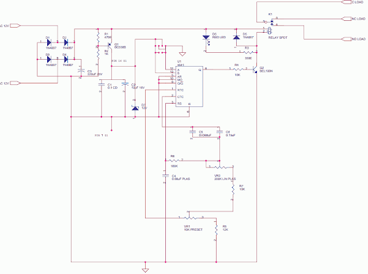 Analog Blind Dial On Delay Timer - delabs Schematics - Electronic Circuits