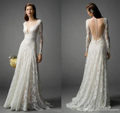2017 Beach Full Lace Wedding Dresses Long Sleeve V Neck