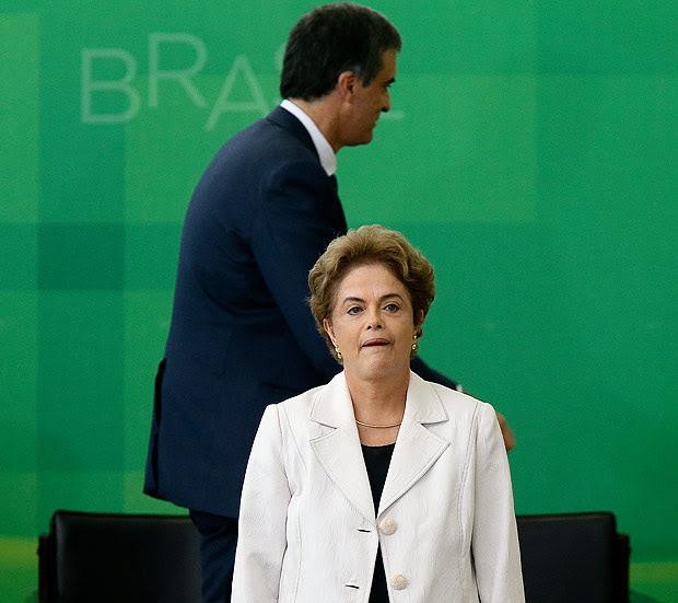 A presidente afastada, Dilma Rousseff, e o ex-ministro José Eduardo Cardozo, em evento em março
