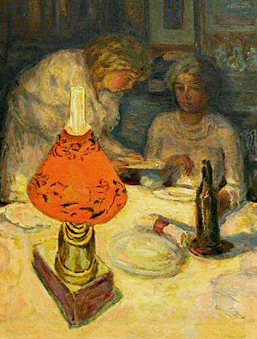 Souper r l'abat-jour,1908 by Pierre Bonnard