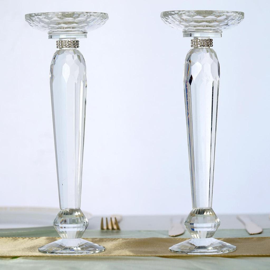 "2 Pack 11"" Tall Premium Cut Glass Crystal Pillar Candle ..."