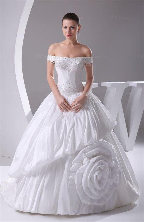 White Gorgeous Garden Princess Off the Shoulder Taffeta