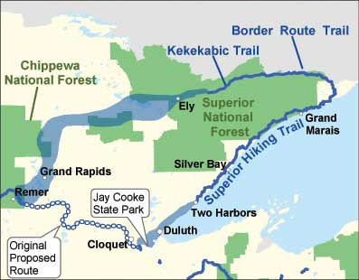 North Country Trail Minnesota Arrowhead map
