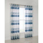 Commonwealth Habitat Andorra Grommet Top Curtain Panel Teal Stripe - 50 x 95 Teal Stripe