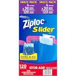 Ziploc Slider Storage Bags, Gallon, 120 CT, Clear