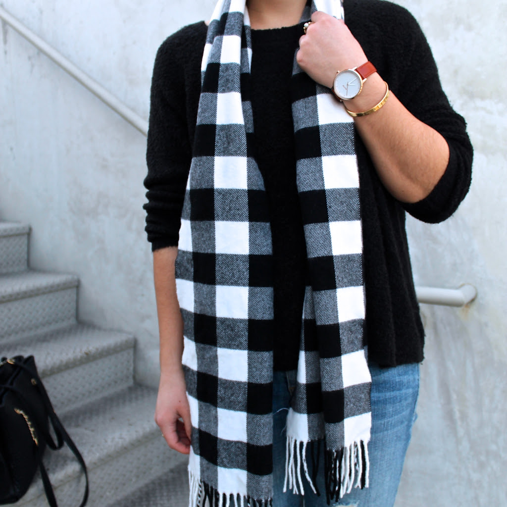 winter #outfit idea: plaid scarf and classic black sweater