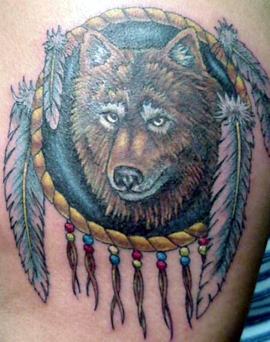 Wolf Head And Dreamcatcher Tattoo