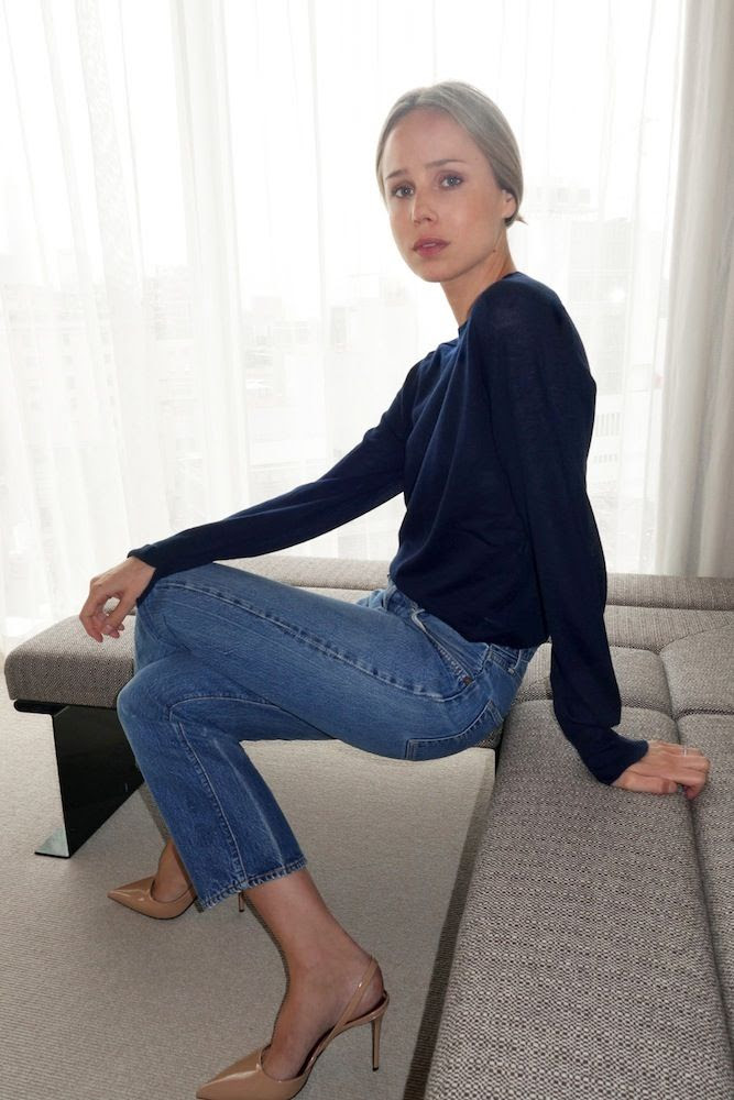 Le Fashion Blog -- Two Ways: Elin Kling In A Toteme Light Verona Cashmere Sweater, Cropped Denim & Nude Slingback Heels -- photo Le-Fashion-Blog-Two-Ways-Elin-Kling-Toteme-Light-Verona-Cashere-Sweater-Cropped-Denim-Nude-Slingback-Heels.jpg